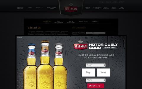 Screenshot of Contact Page sleeman.com - Sleeman Contact - Sleeman Breweries Ltd. - captured Nov. 2, 2014