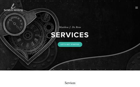 Screenshot of Services Page scratchwriting.com - Services — Scratch Writing - captured Sept. 30, 2017