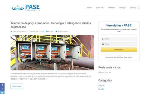 Screenshot of Blog pasehidro.com.br - Blog | PASE Hidrometria - captured Jan. 23, 2016