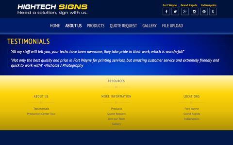 Screenshot of Testimonials Page hightech-signs.com - Hightech Signs - Testimonials - captured July 15, 2016