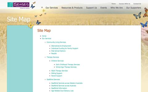 Screenshot of Site Map Page senses.org.au - Site Map - captured Oct. 7, 2014