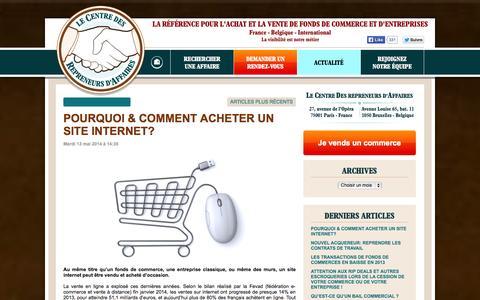 Screenshot of Blog centredesrepreneurs.com - Le Centre des Repreneurs d'Affaires, à votre service. - captured Oct. 1, 2014