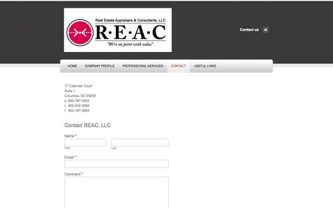 Screenshot of Contact Page reacllc.com - Contact - Real Estate Appraisers & Consultants LLC - captured Nov. 3, 2014