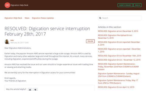 Screenshot of Support Page digication.com - RESOLVED: Digication service interruption February 28th, 2017 – Digication Help Desk - captured Jan. 8, 2020