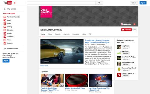 Screenshot of YouTube Page youtube.com - DealsDirect.com.au  - YouTube - captured Oct. 23, 2014