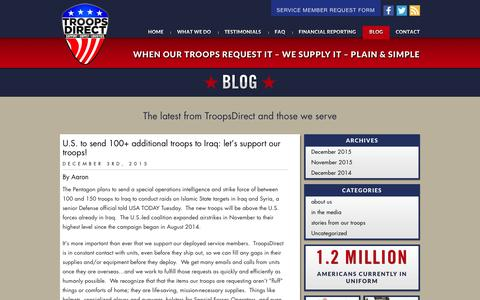 Screenshot of Blog troopsdirect.org - Blog �  TroopsDirect.org - captured Dec. 5, 2015
