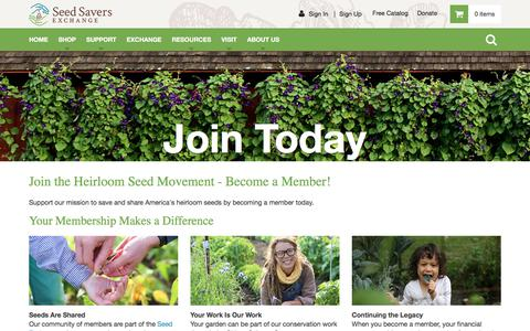 Screenshot of Signup Page seedsavers.org - Join - Seed Savers Exchange - captured June 21, 2017