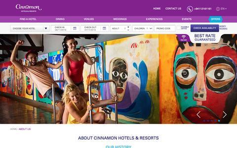 Screenshot of About Page cinnamonhotels.com - Best Sri Lanka Hotels | About Cinnamon Hotels & Resorts - captured Nov. 6, 2016