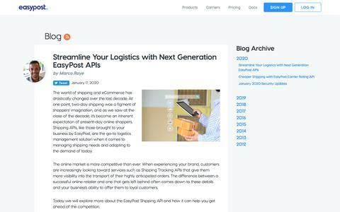 Screenshot of Blog easypost.com - Streamline Your Logistics with Next Generation EasyPost APIs - EasyPost - captured Jan. 21, 2020