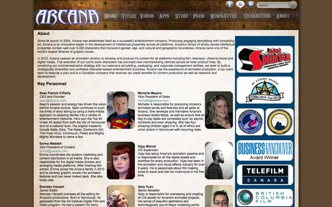 Screenshot of About Page arcana.com - Arcana - About - captured Feb. 6, 2016