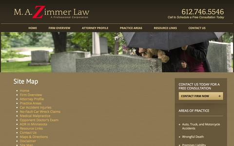 Screenshot of Site Map Page mazimmerlaw.com - Site Map   M.A. Zimmer Law - captured Dec. 19, 2015