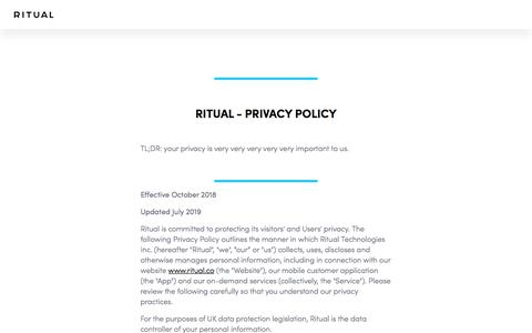 Screenshot of Privacy Page ritual.co - Privacy Policy - captured Nov. 12, 2019