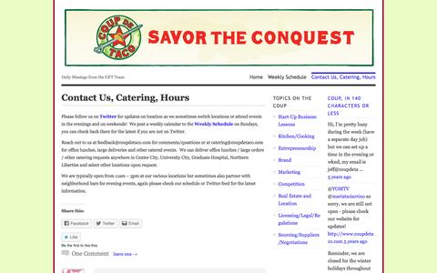 Screenshot of About Page coupdetaco.com - Contact Us, Catering, Hours | Coup de Taco: Savor the Conquest! - captured July 16, 2016