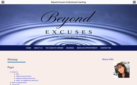 Screenshot of Site Map Page beyondexcuses.com - Sitemap – Beyond Excuses Professional Coaching - captured Dec. 18, 2018