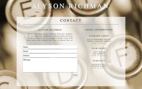 Screenshot of Contact Page alysonrichman.com - Alyson Richman   Contact   Publicity - captured Jan. 30, 2017