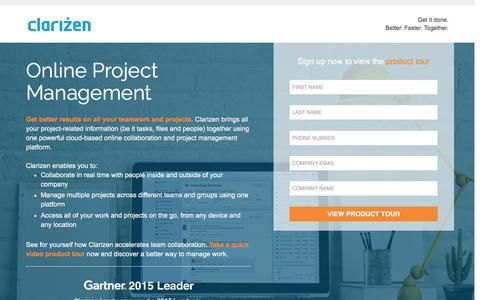 Screenshot of Landing Page clarizen.com - Online Project Management Software - captured July 25, 2016