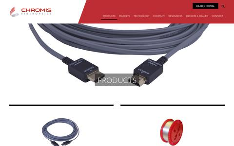 Screenshot of Products Page chromisfiber.com - Chromis Fiberoptics Products | Active Optical Cables & Fibers - captured Sept. 28, 2018
