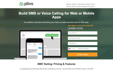 Screenshot of Landing Page plivo.com - Plivo: SMS Text & Voice Calling API - captured June 30, 2017