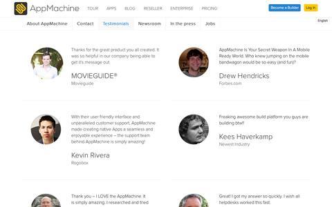 Screenshot of Testimonials Page appmachine.com - Testimonials - AppMachine - captured Sept. 18, 2014