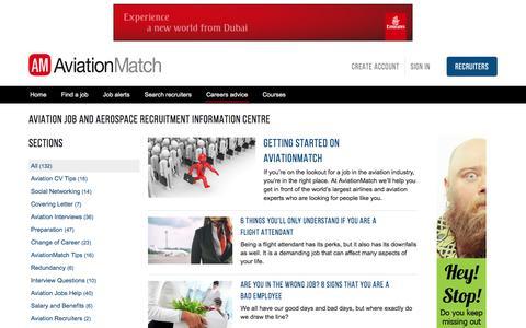 Screenshot of Jobs Page aviationmatch.com - Aviation Jobs Information | Aerospace Job Interview Tips - captured Nov. 21, 2016