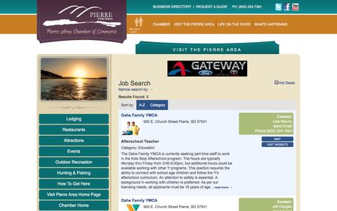 Screenshot of Jobs Page pierre.org - Job Search - Visit the Pierre Area - captured Jan. 28, 2016