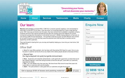 Screenshot of Team Page downsizingwithease.com.au - Team - Downsizing with Ease - captured Sept. 30, 2014