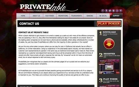 Screenshot of Contact Page privatetable.com - Contact Us - Online Poker Room | Private Table - captured Sept. 25, 2014