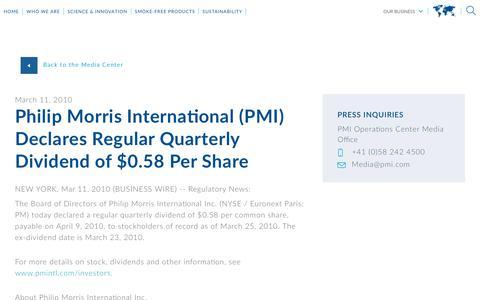 Screenshot of Press Page pmi.com - Philip Morris International (PMI)  Declares Regular Quarterly Dividend of $0.58 Per Share - captured Nov. 1, 2018