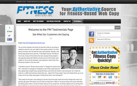 Screenshot of Testimonials Page fitnesswritersinc.com - Fitness Writers Inc: The Net's #1 Source of Fitness Copy testimonials-fitness-writers-inc - captured Sept. 30, 2014