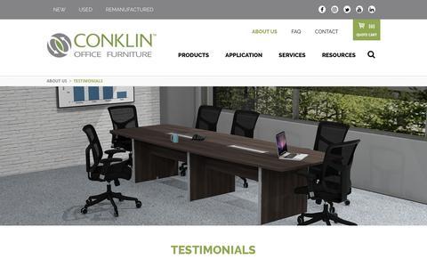 Screenshot of Testimonials Page conklinoffice.com - Conklin Office Furniture Testimonials - High Quality, Eco-Friendly Office Furniture - Conklin Office Furniture - captured Sept. 29, 2018