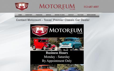 Screenshot of Contact Page motoreum.com - Contact Motoreum   Austin Classic Cars   Car Investment - captured Oct. 26, 2014