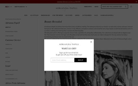 Screenshot of About Page adriannapapell.com - About Us & Our Story | Adrianna Papell - captured July 29, 2018