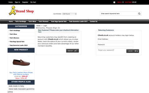 Screenshot of Login Page t3web.co.uk - Login : Outlet Tod's Handbags, Shop Boots, Online Bags - captured Jan. 10, 2016