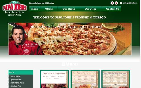 Screenshot of Menu Page papajohnstt.com - Menu - Papa JohnŐs - captured Jan. 18, 2016