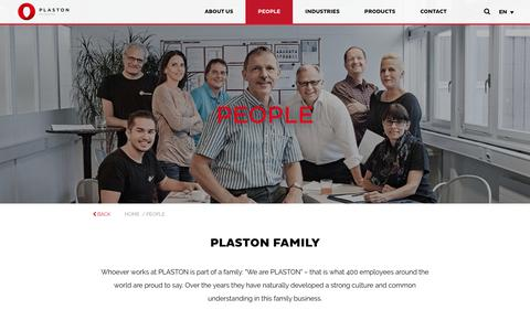 Screenshot of Team Page plaston.com - Whoever works at PLASTON is part of a family - captured Oct. 25, 2018