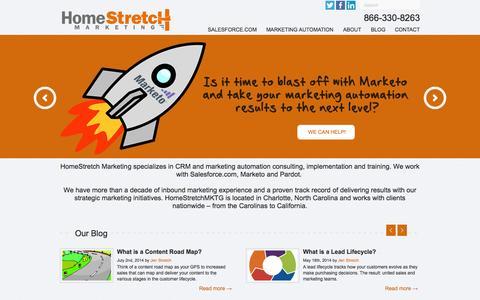 Screenshot of Home Page homestretchmktg.com - HomeStretch MKTG: CRM, Marketing Automation & Inbound Marketing - captured Oct. 3, 2014