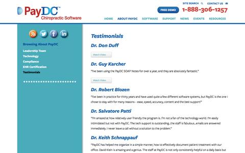 Screenshot of Testimonials Page paydc.com - Testimonials - PayDC Chiropractic Software - - captured Oct. 29, 2016
