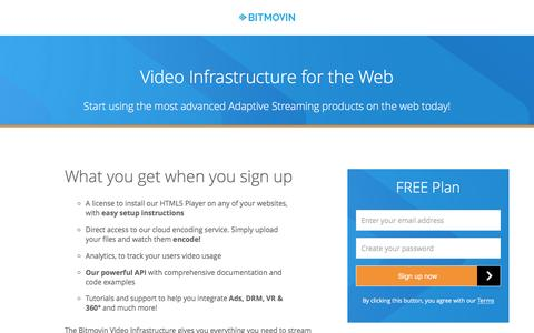 Screenshot of Signup Page bitmovin.com - Video Infrastructure for the Web - Bitmovin - captured Oct. 24, 2016
