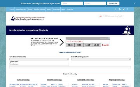 Screenshot of Home Page scholarships-international.com - Scholarships for International Students - captured Jan. 17, 2016