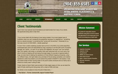 Screenshot of Testimonials Page quick-catch.com - Client Recommendations and Testimonials - Jacksonville Florida - captured Sept. 30, 2014
