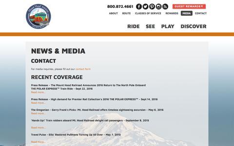 Screenshot of Press Page mthoodrr.com - Mount Hood Railroad – Hood River, OR Media - Mount Hood Railroad - Hood River, OR - captured June 22, 2017