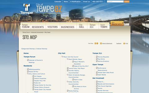 Screenshot of Site Map Page tempe.gov - Site Map | City of Tempe, AZ - captured Sept. 24, 2018