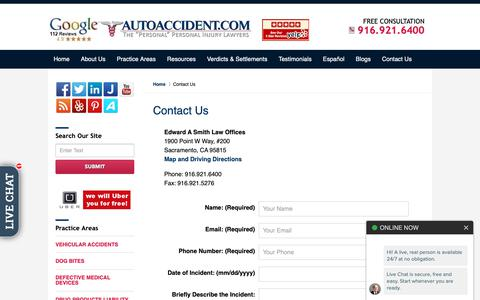 Screenshot of Contact Page autoaccident.com - Contact Us. - captured March 21, 2019