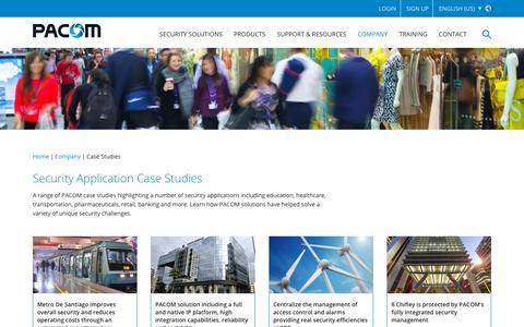 Screenshot of Case Studies Page pacom.com - Security Application Case Studies - captured Sept. 26, 2018