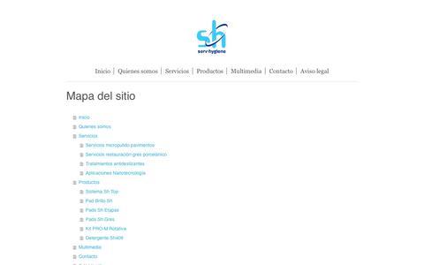 Screenshot of Site Map Page servhygiene.com - SEHIBIO SL: Servicios para la empresa - captured May 26, 2017