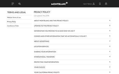 Screenshot of Privacy Page montblanc.com - Privacy Policy - captured Nov. 15, 2018
