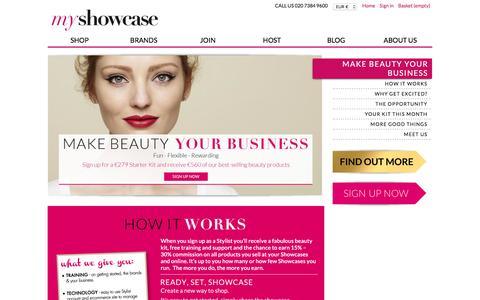 Screenshot of Signup Page myshowcase.com - MyShowcase, Make Beauty Your Business - captured Jan. 15, 2016