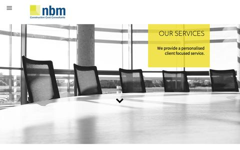 Screenshot of Services Page nbm.bz - nbm Construction Cost Consultancy, 25 years of experience, cost management, employers agent, personalised client care. - captured Sept. 20, 2018