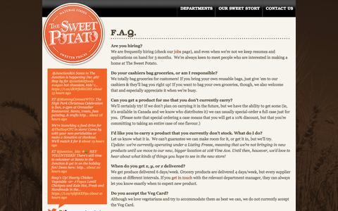 Screenshot of FAQ Page thesweetpotato.ca - F.A.Q. | The Sweet Potato - captured Dec. 1, 2016