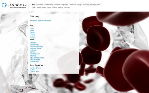 Screenshot of Site Map Page random42.com - Site map | Random42 Medical Animation - captured Sept. 19, 2014